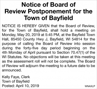 Notice of Board of Review Postponement for the Town of Bayfield