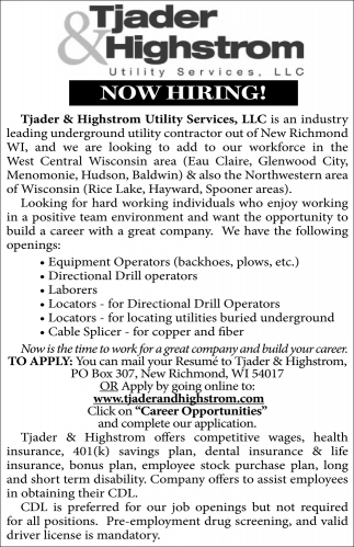 Equipment Operators, Directional Drill operators, Laborers, Locators