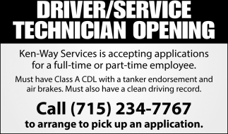 Driver / Service Technician Opening