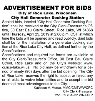 Advertisement for Bids