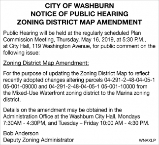 Notice of Public Hearing Zoning District Map Amendment