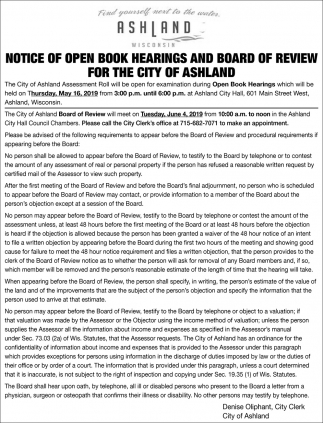 Notice of Open Book Hearings and Board of Review for the City of Ashland