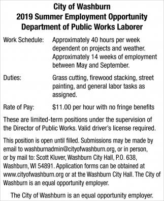2019 Summer Employment