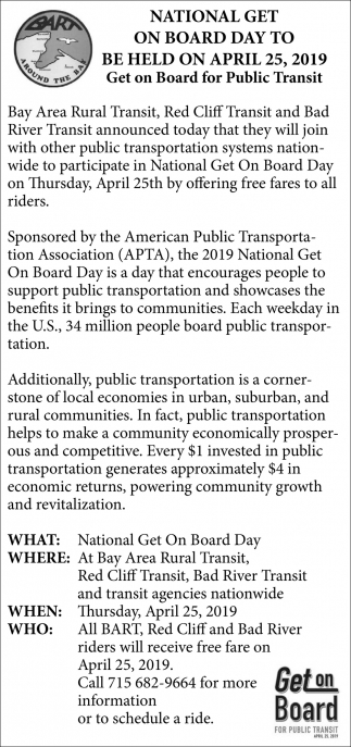 National Get on Board Day To Be Held on April 25, 2019