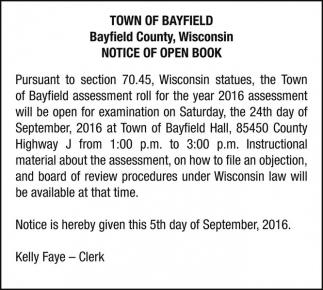 NOTICE OF OPEN BOOK