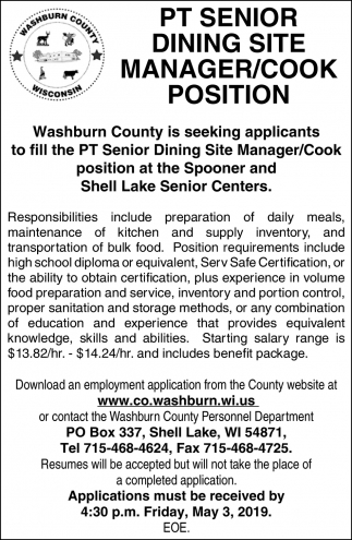 Pt Senior Dining Site Manager / Cook Position