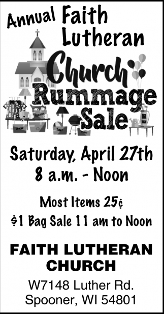 Annual Rummage Sale, Faith Lutheran Church - Spooner, Spooner, WI