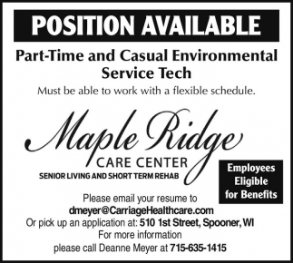 Part-time and Casual Environmental Service Tech