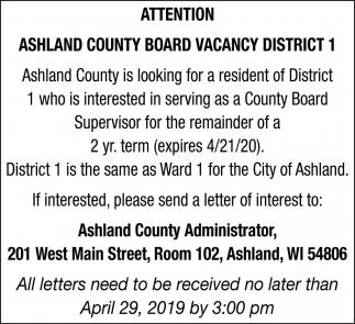 Ashland County Board Vacancy District 1