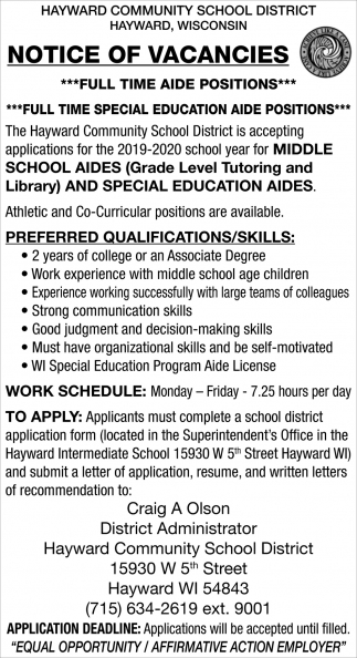 Aide Positions, Special Education Aide