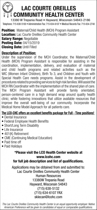 Maternal/Child Health Program Assistant