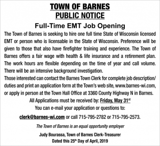 Full-Time EMT Job Opening