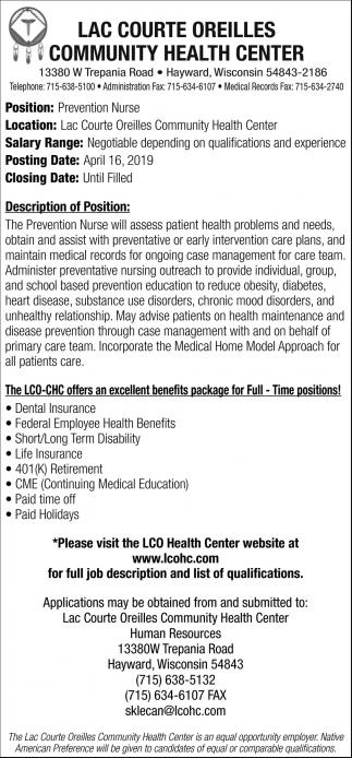 Prevention Nurse