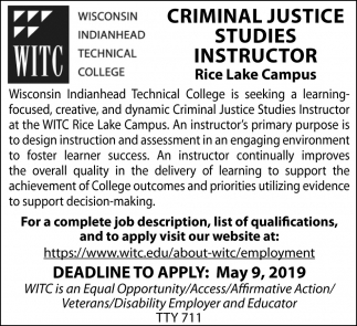 Criminal Justice Studies Instructor