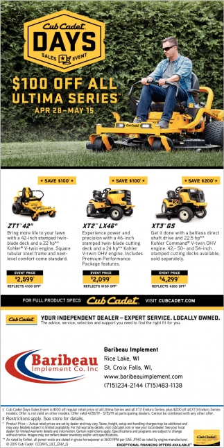 Cub Cadet Days Sales Event