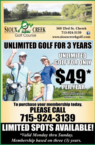 Unlimited golf for 3 years