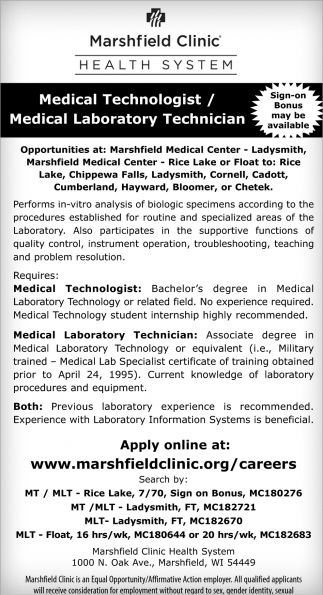 Medical Technologist / Medical Laboratory Technician