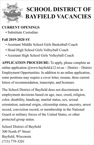 Substitute Custodian, School District of Bayfield, Bayfield, WI