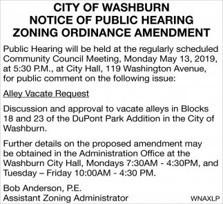 Notice of Public Hearing Zoning Ordinance Amendment