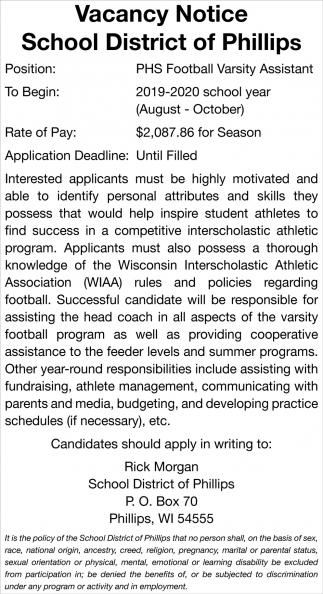 PHS Football Varsity Assistant