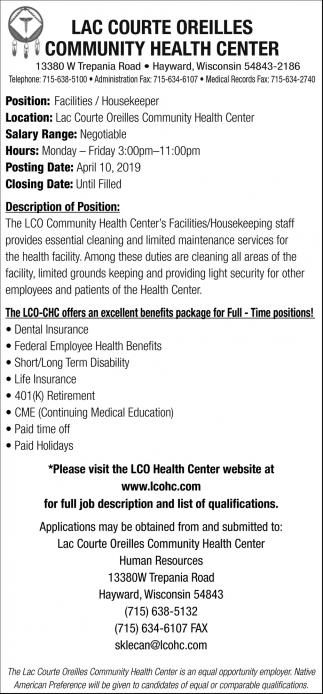 Facilities / Housekeeper