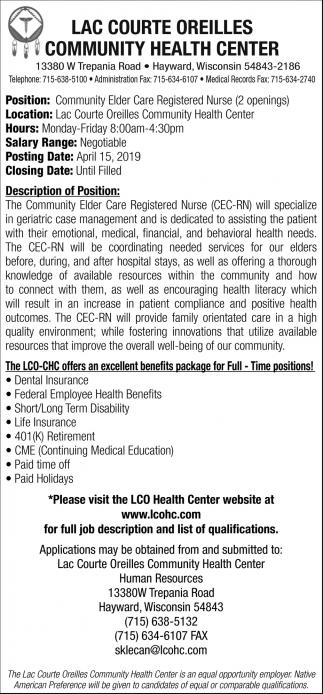 Community Elder Care Registered Nurse