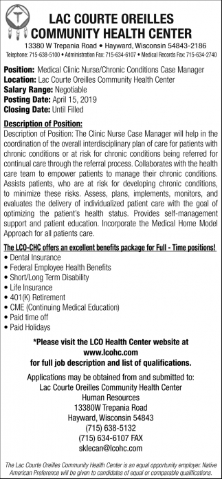 Medical Clinic Nurse/Chronic Conditions Case Manager