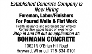 Foreman, Labor/Finishers
