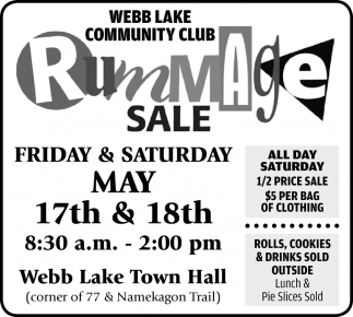 Rummage Sale, Webb Lake Community Club, Danbury, WI