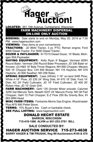 Farm Machinery Dispersal On-Line Only Auction, Hager Auction
