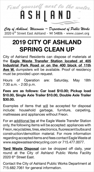 2019 City of Ashland Spring Clean Up
