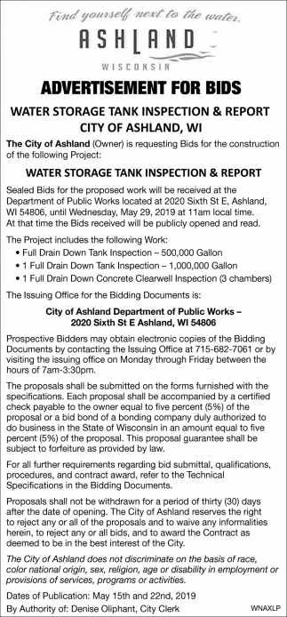 Water Storage Tank Inspection & Report