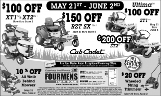 10% off all Walk Behind Mowers