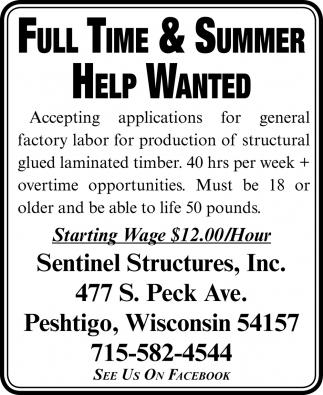 Summer Help Wanted