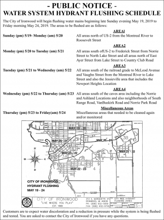 Water System Hydrant Flushing Schedule