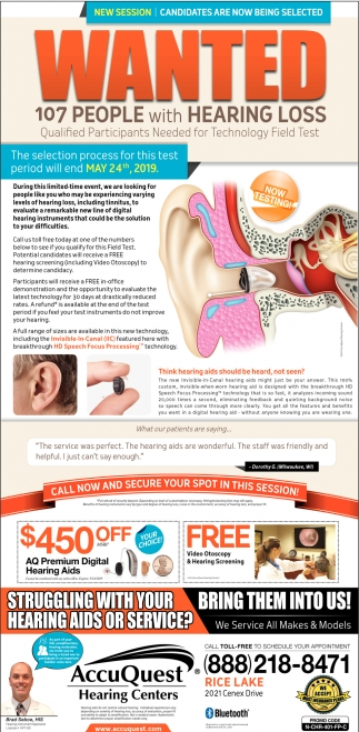 Wanted 107 People with Hearing Loss