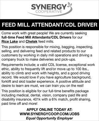 Feed Mill Attendant/CDL Driver
