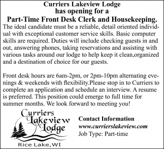 Front Desk Clerk and Housekeeping