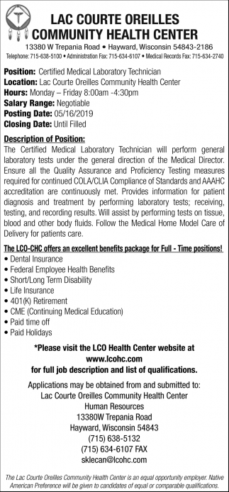 Certified Medical Laboratory Technician
