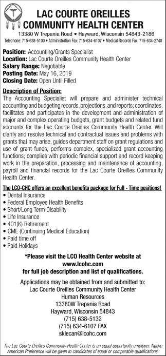 Accounting/Grants Specialist
