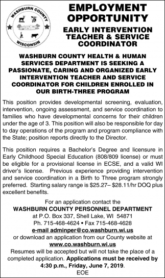 Early Intervention Teacher & Service Coordinator