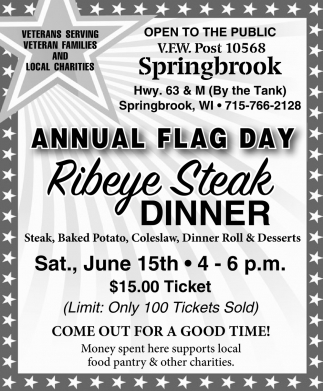 Annual Flag Day Ribeye Steak Dinner