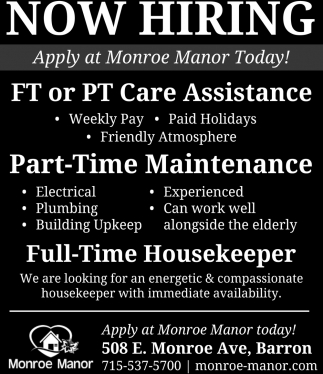 Care Assistance, Maintenance, Housekeeper