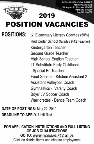 2019 PositionVacancies