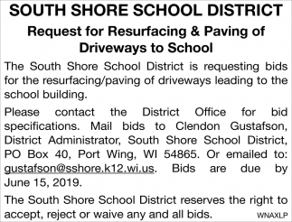 Request for Resurfacing & Paving of Driveways to School