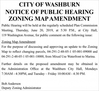 Notice of Public Hearing Zoning Map Amendment
