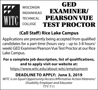 Ged Examiner / Pearson Vue Test Proctor