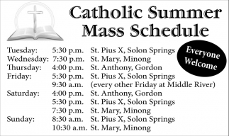 Catholic Summer Mass Schedule