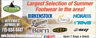 Largest Selection of Summer Footwear in the area!