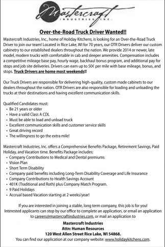 Over-the-Road Truck Driver, Mastercraft Industries, Rice